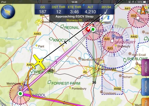 187 knots heading towards Sleap