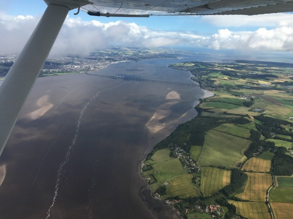 River Tay, with both bridges visible inbound Dundee